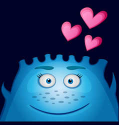 love blue monster with heart vector image