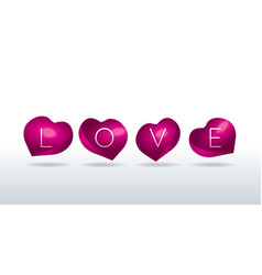 Love sign in shell-shaped hearts vector