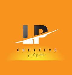 Lp l p letter modern logo design with yellow vector
