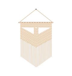 Macrame boho style label textile knotting design vector