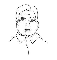 man linear portrait continuous line drawing vector image