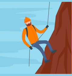man with rope hiking the mountain background flat vector image