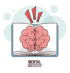 Mental health concept brain book knowledge vector