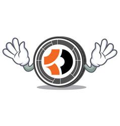 Mocking bitcoin dark mascot cartoon vector