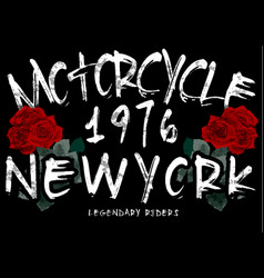 motorcycle rose tee graphic vector image
