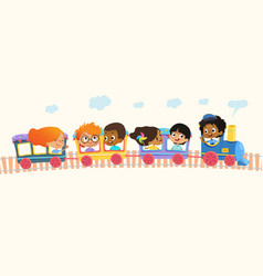Multiracial school kids boys and girls laughing vector