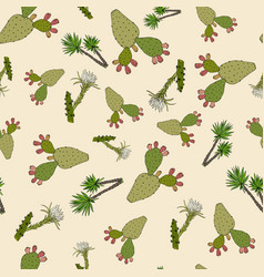 nature seamless pattern with cactuses and yucca vector image