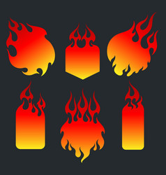 old school red flame background elements set vector image