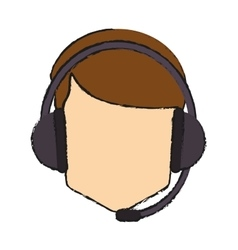 Operator man with headphone design vector image