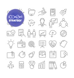 Outline icon set pictograph set strategy vector