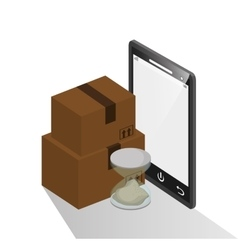 Package and smartphone of delivery design vector