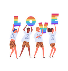 People carrying love letters in rainbow colors vector