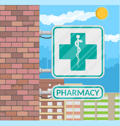 Pharmacy sign on wall vector