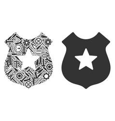 police mosaic of repair tools vector image