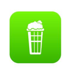 popcorn box icon green vector image