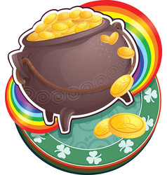 Pot of gold on saint patrick day vector