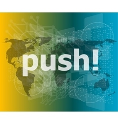 push word on digital touch screen interface vector image