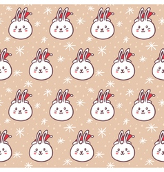 Rabbits in Santas hats seamless pattern vector image