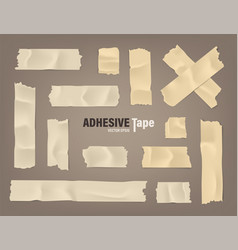 Realistic adhesive tape set sticky scotch duct vector