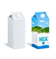 Realistic Milk Boxes Isolated vector