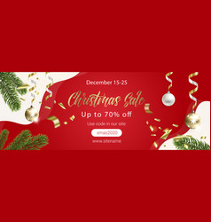 red christmas sale banner with fir tree branches vector image
