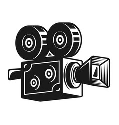 Retro video camera black object vector