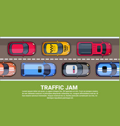 Road full different cars top angle view of vector