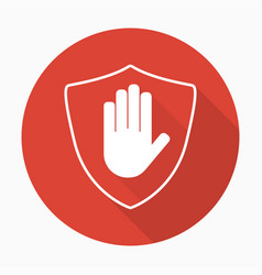 Shield with hand block icon in flat style vector
