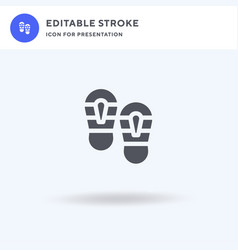 shoe prints icon filled flat sign solid vector image