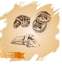 Sketch - bakery croissant vector