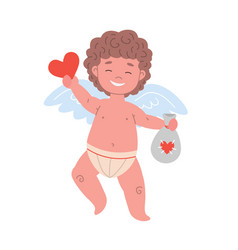 smiling cupid character holding valentine card vector image