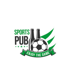 soccer sports pub icon beer bottle and ball vector image