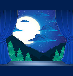 Stage with night landscape vector