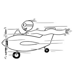 Stickman cartoon of smiling man flying small vector