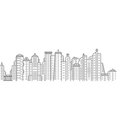 Thin line city panoramic view on white background vector