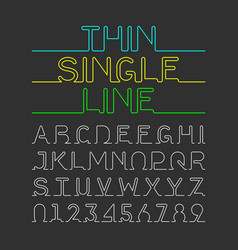 Thin single line font one continuous line modern vector