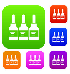 Three tattoo ink bottles set color collection vector