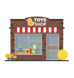 Toy shop window display exterior building kids vector