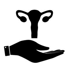 Uterus in hand icon vector image