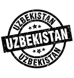 Uzbekistan black round grunge stamp vector