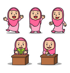 various activity girl islamic school kids vector image