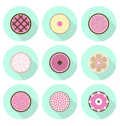 Various cakes flat icon set vector