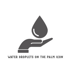 Water droplet on palm hand icon simple flat vector