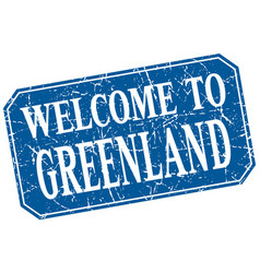 Welcome to greenland blue square grunge stamp vector