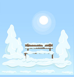 Wooden isolated bench under snow between trees vector