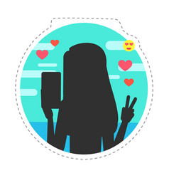 World blogger day woman taking selfies isolated vector