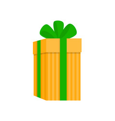 yellow extended gift box in stripes vector image