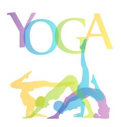 Yoga poses silhouette vector