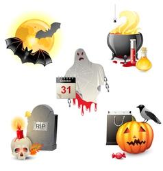 5 halloween icons vector image