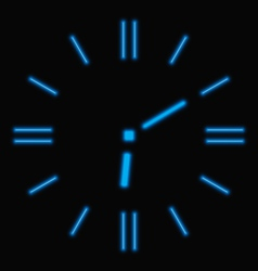 Abstract neon clock vector image vector image